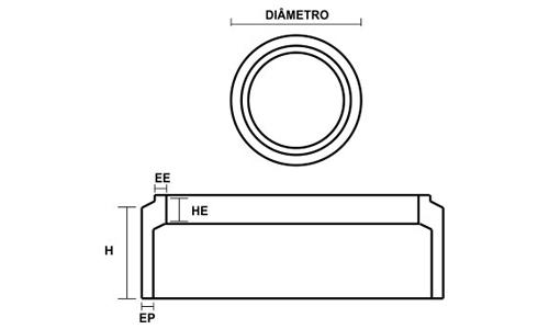 Desenho Técnico Anel Celular de concreto Liso