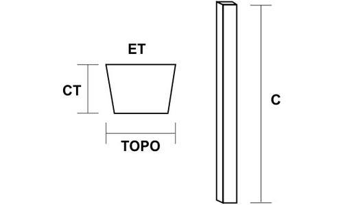 Mourão de Concreto Reto Desenho Técnico
